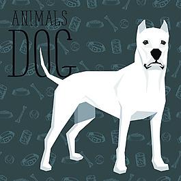 白色卡通狗狗宠物展示矢量素材