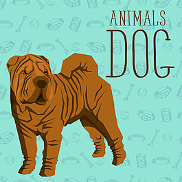 卡通狗狗宠物展示矢量素材
