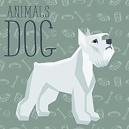 长毛卡通狗狗宠物展示矢量素材