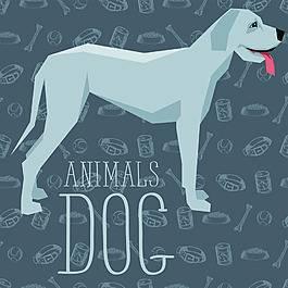 蓝色长腿卡通狗狗宠物展示矢量素材