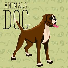 国外卡通狗狗宠物展示矢量素材