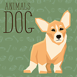 小型卡通狗狗宠物展示矢量素材