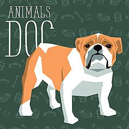短腿卡通狗狗宠物展示矢量素材