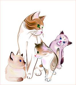 一群卡通手绘风格猫咪矢量素材