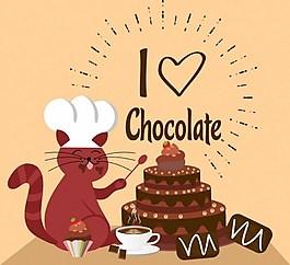 在做蛋糕的猫背景图