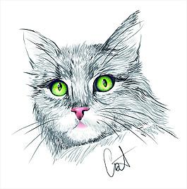 手绘风格猫咪矢量素材