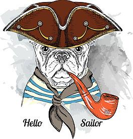 抽烟卡通手绘风格狗狗头像矢量素材
