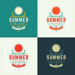 夜晚夏天度假旅游矢量圖標素材