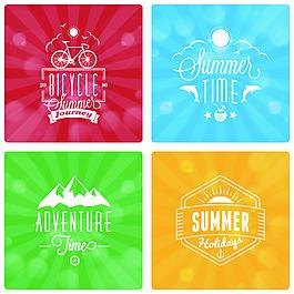 騎行夏日度假矢量圖標素材