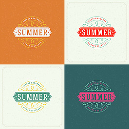 線條夏天度假旅游矢量圖標素材