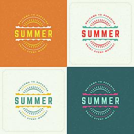夏天度假旅游矢量圖標素材