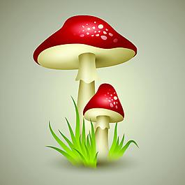红色卡通蘑菇矢量素材