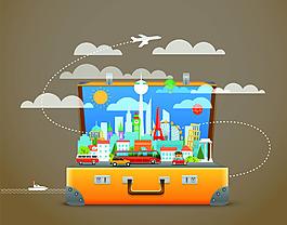 旅行箱子合成海報矢量素材