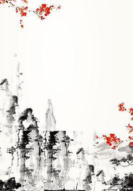 中國風水墨山水畫背景