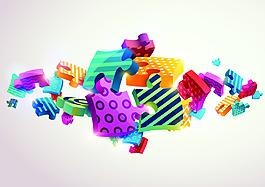 立体3d拼图节日装饰背景矢量素材