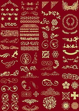 中式復古花紋邊框合集psd