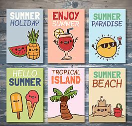 彩繪夏季度假用品矢量