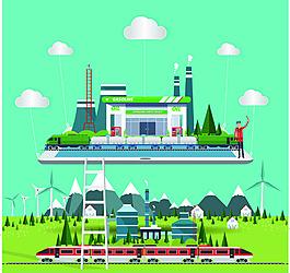 平板電腦綠色背景旅游插畫矢量素材