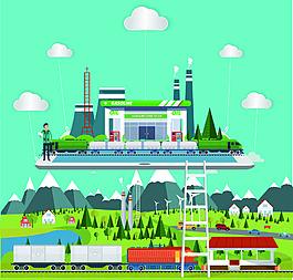 創意合成手機平板旅游火車創意插畫