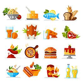 扁平化美食圖標圖片