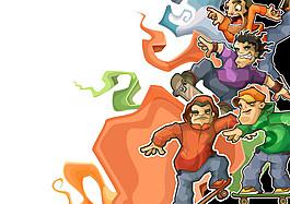 滑板人物漫畫圖片