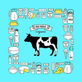 卡通奶牛背景边框图片