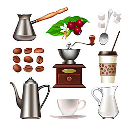 卡通咖啡用具图片