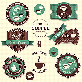 绿色咖啡杯标签矢量图片