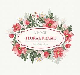 复古红色花卉框架矢量