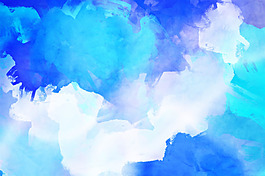 唯美藍色水彩清新背景