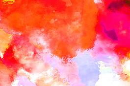 唯美紅色高清主題水彩背景圖