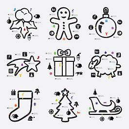 圣诞节主题手绘简笔画元素