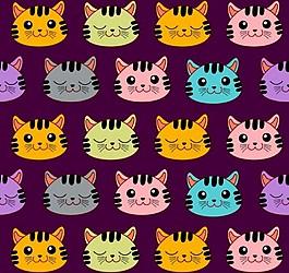 各种颜色猫头矢量图