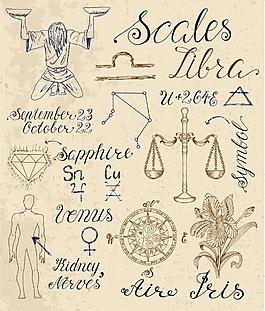 天秤座星座手繪復古古代故事矢量素材