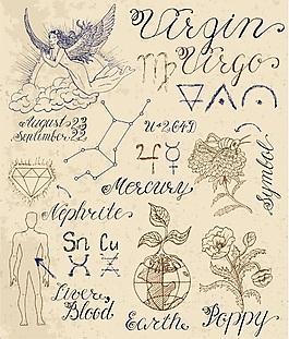 处女座手绘复古古代故事矢量素材