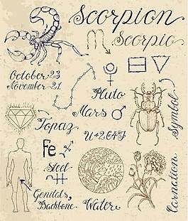 摩羯星座手繪復古古代故事矢量素材