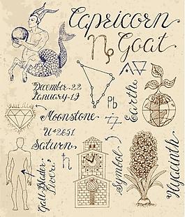 12星座手绘复古古代故事矢量素材