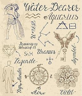 水瓶星座手绘复古古代故事矢量素材