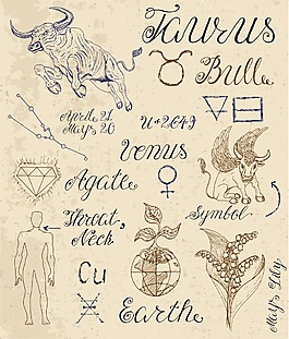 金牛星座手绘复古古代故事矢量素材