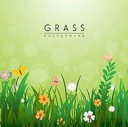 小清新綠色小草野花背景圖