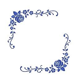 手繪藍色花朵元素