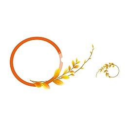 手繪桔色花環元素