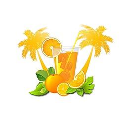 手繪橙子果汁元素