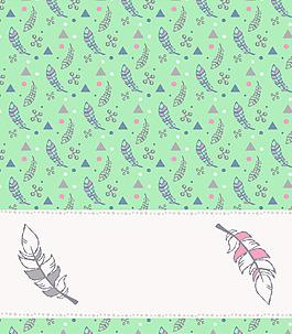 綠色羽毛圖案矢量設計VI花型