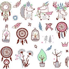 卡通動物手繪線條彩色合集