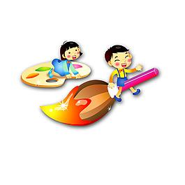 卡通彩色男孩騎在畫筆上男孩坐在調色板上飛翔