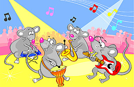 老鼠樂隊插畫風景背景矢量素材