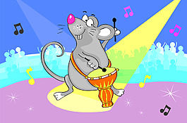 打鼓的老鼠插畫風景背景矢量素材