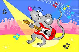彈吉他的老鼠插畫風景背景矢量素材
