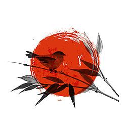 中國風水墨鳥兒元素
